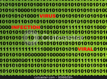 Computer virus infection stock photo, Computer virus infection in black binary number on green background. by Martin Crowdy