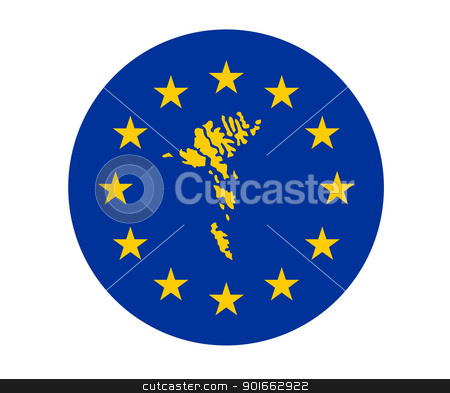 Faroe Islands European flag stock photo, Map of Faroe Islands on European Union flag with yellow stars. by Martin Crowdy