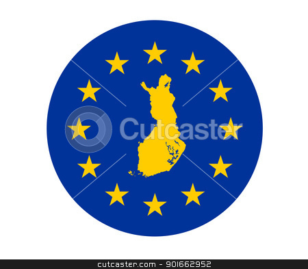 Finland European flag stock photo, Map of Finalnd on European Union flag with yellow stars. by Martin Crowdy