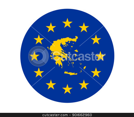Greece European flag stock photo, Map of Greece on European Union flag with yellow stars. by Martin Crowdy