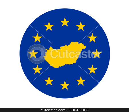 Hungary European flag stock photo, Map of Hungary on European Union flag with yellow stars. by Martin Crowdy