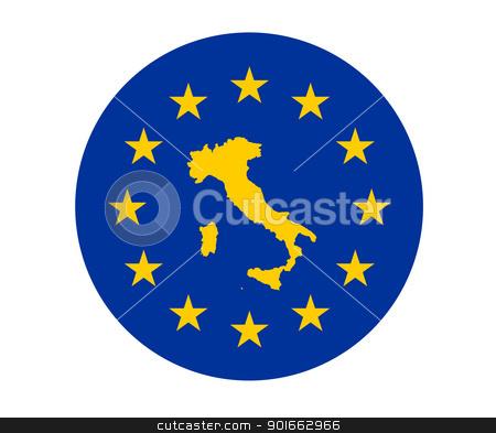 Italy European flag stock photo, Map of Italy on European Union flag with yellow stars. by Martin Crowdy