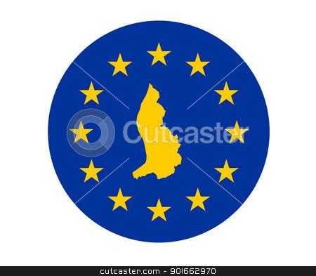 Liechtenstein European flag stock photo, Map of Liechtenstein on European Union flag with yellow stars. by Martin Crowdy