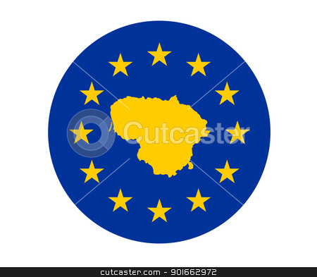 Lithuania European flag stock photo, Map of Lithuania on European Union flag with yellow stars. by Martin Crowdy