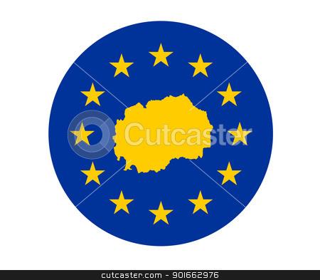 Macedonia European flag stock photo, Map of Macedonia on European Union flag with yellow stars. by Martin Crowdy