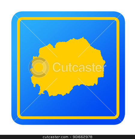 Macedonia European button stock photo, Macedonia European button isolated on a white background with clipping path. by Martin Crowdy