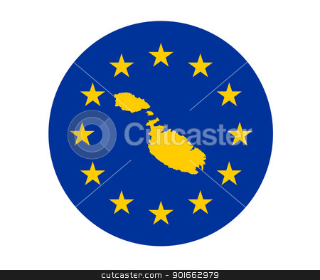 Malta European flag stock photo, Map of Malta on European Union flag with yellow stars. by Martin Crowdy