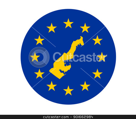 Monaco European flag stock photo, Map of Monaco on European Union flag with yellow stars. by Martin Crowdy