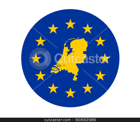 Netherlands European flag stock photo, Map of Netherlands on European Union flag with yellow stars. by Martin Crowdy