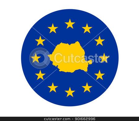 Romania European flag stock photo, Map of Romania on European Union flag with yellow stars. by Martin Crowdy
