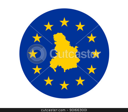 Serbia and Montenegro European flag stock photo, Map of Serbia and Montenegro on European Union flag with yellow stars. by Martin Crowdy