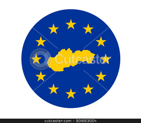 Slovakia European flag stock photo, Map of Slovakia on European Union flag with yellow stars. by Martin Crowdy