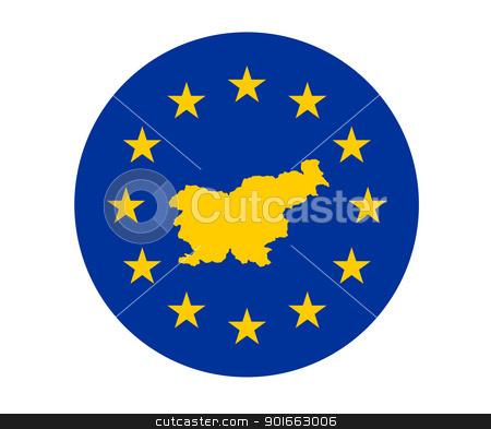 Slovenia European flag stock photo, Map of Slovenia on European Union flag with yellow stars. by Martin Crowdy