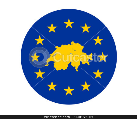 Switzerland European flag stock photo, Map of Switzerland on European Union flag with yellow stars. by Martin Crowdy
