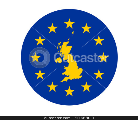 United Kingdom European flag stock photo, Map of United Kingdom on European Union flag with yellow stars. by Martin Crowdy