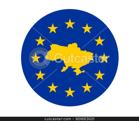 Ukraine European flag stock photo, Map of Ukraine on European Union flag with yellow stars. by Martin Crowdy