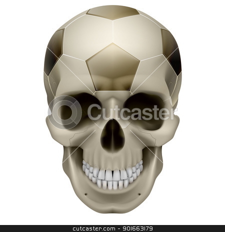 Human Skull stock photo, Human Skull. Football design. Illustration on white background by dvarg