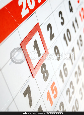 First day stock photo, First day of the month marked on the calendar by Sinisa Botas