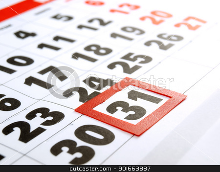 Last day stock photo, Last day of the month marked on the calendar. by Sinisa Botas