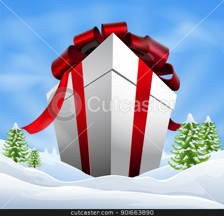 Giant Christmas Gift stock vector clipart, Illustration of a giant Christmas gift in idyllic Christmas snowy landscape by Christos Georghiou