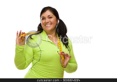Hispanic Woman In Workout Clothes with Tape Measure stock photo, Attractive Middle Aged Hispanic Woman In Workout Clothes Showing off Her Tape Measure Against a White Background. by Andy Dean
