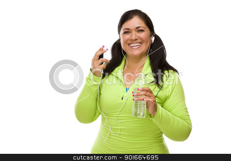 Hispanic Woman In Workout Clothes with Music Player and Headphon stock photo, Attractive Middle Aged Hispanic Woman In Workout Clothes with Music Player, Headphones and Water Against a White Background. by Andy Dean
