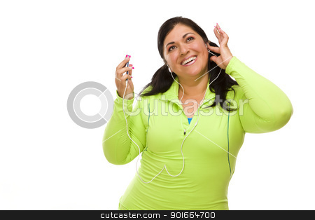 Hispanic Woman In Workout Clothes with Music Player and Headphon stock photo, Attractive Middle Aged Hispanic Woman In Workout Clothes with Music Player and Headphones Against a White Background. by Andy Dean