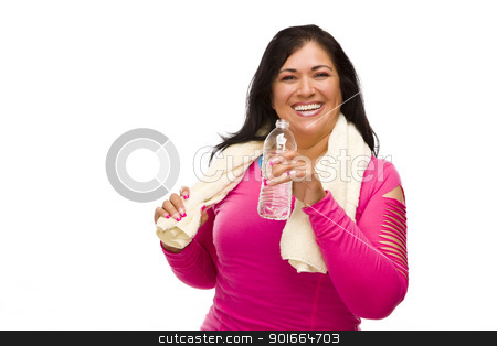 Hispanic Woman In Workout Clothes with Water and Towel stock photo, Attractive Middle Aged Hispanic Woman In Workout Clothes with Water Bottle and Towel Against a White Background. by Andy Dean