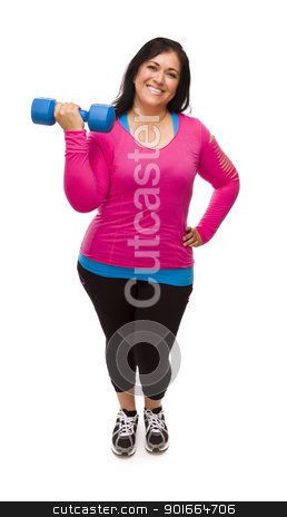 Hispanic Woman In Workout Clothes Lifting Dumbbell stock photo, Attractive Middle Aged Hispanic Woman In Workout Clothes Lifting Dumbbell Against a White Background. by Andy Dean