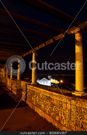 Miradouro de Santa Luzia stock photo, famous viewing point in Lisbon at night by Juliane Jacobs