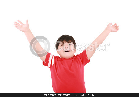 young casual little boy with open arms and looking up, isolated  stock photo, young casual little boy with open arms and looking up, isolated  by dacasdo
