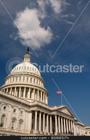 The Capitol building stock photo, The Capitol building lit against a dark sky, Washington DC, white cloud just above the roof by Robert Remen