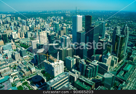 Toronto stock photo, aerial view of toronto, long distance visibility by Robert Remen