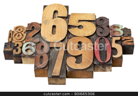 number abstract in wood type stock photo, number abstract - vintage  letterpress wood type stained by color inks, a mix of fonts by Marek Uliasz