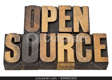 open source - software concept stock photo, open source - computer software concept - isolated text in vintage letterpress wood type by Marek Uliasz