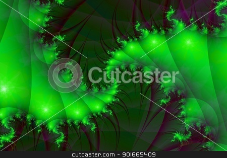 Green Spirals stock photo, Digital abstract image with a spiral design in shades of green by Colin Forrest