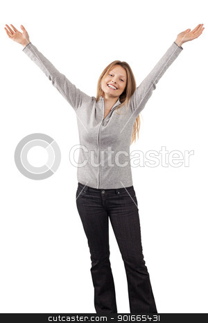 Happy woman with arms in the air stock photo, Photo of a young blond woman with her arms up in the air and full of joy. by © Ron Sumners