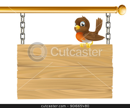 Bird hanging wooden sign stock vector clipart, Illustration of a hanging wooden sign with a robin bird seated on it by Christos Georghiou
