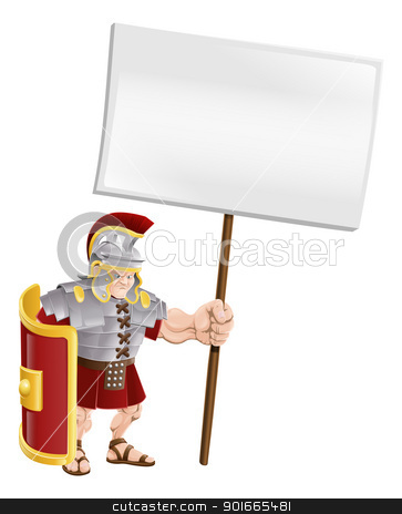 Tough Roman soldier holding sign board stock vector clipart, Cartoon illustration of a tough looking Roman soldier holding a sign board  by Christos Georghiou