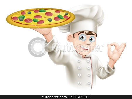 Okay Sign Pizza Chef Illustration stock vector clipart, Pizza chef doing an okay sign and holding up a tasty looking pizza by Christos Georghiou