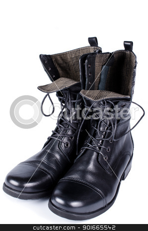 High boots stock photo, Woman high boots with laces isolated by Nanisimova