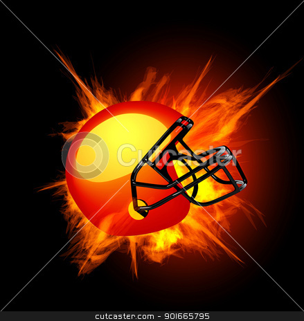 American football helmet in fire stock photo, American football helmet in fire isolated on dark background by sermax55