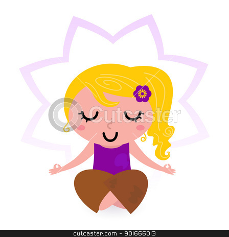 Meditation isolated on white stock vector clipart cute blond girl