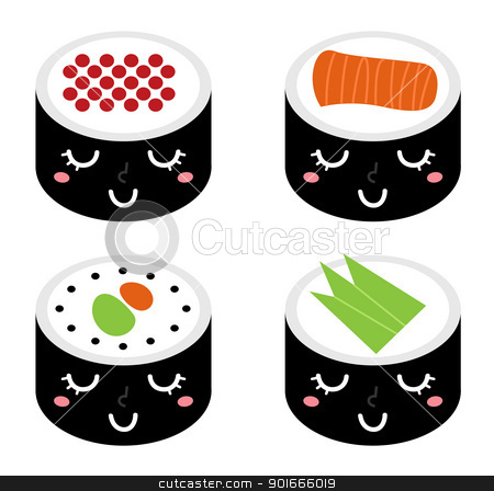 Cute cartoon Sushi set isolated on white stock vector clipart, Sushi collection isolated on white. Vector