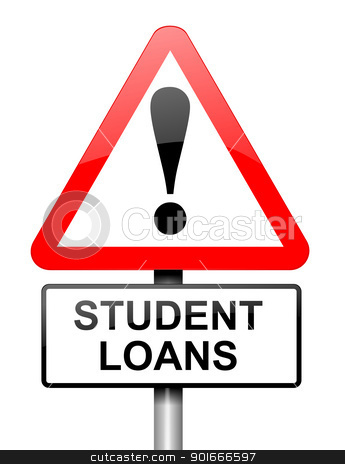 Student loans warning. stock photo, Illustration depicting a red and white triangular warning sign with a student loans concept. White background. by Samantha Craddock
