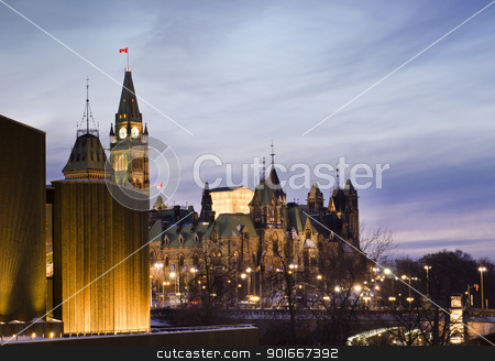Politics At Dusk stock photo, The Canadian Parliament Centre and East blocks  seen from the National Art Centre in Ottawa, Canada. by Michel Loiselle