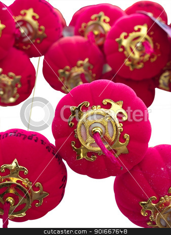 Chinese ornaments stock photo, Hanging Chinese ornaments isolate on white background by Exsodus