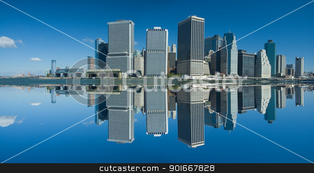 lower manhattan stock photo, lower manhattan, artificial reflection created, panorama photo by Robert Remen