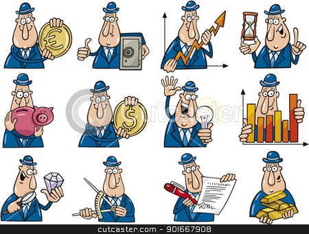 funny businessmen set stock vector clipart, cartoon illustration of funny businessmen collection set by Igor Zakowski