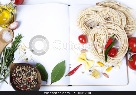 Ingredients fof making Italian Pasta stock photo, Italian Pasta with tomatoes, garlic, olive oil and pepper on a blanc notebook  (with space for text) by klenova